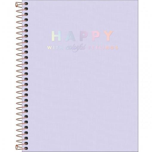 Caderno Espiral Capa Plástica Colegial 1 Matéria Happy Lilás 80 Folhas