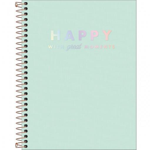 Caderno Espiral Capa Plástica Colegial 1 Matéria Happy Verde 80 Folhas