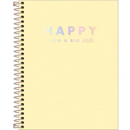 Caderno Espiral Capa Plástica Colegial 10 Matérias Happy Amarelo 160 Folhas