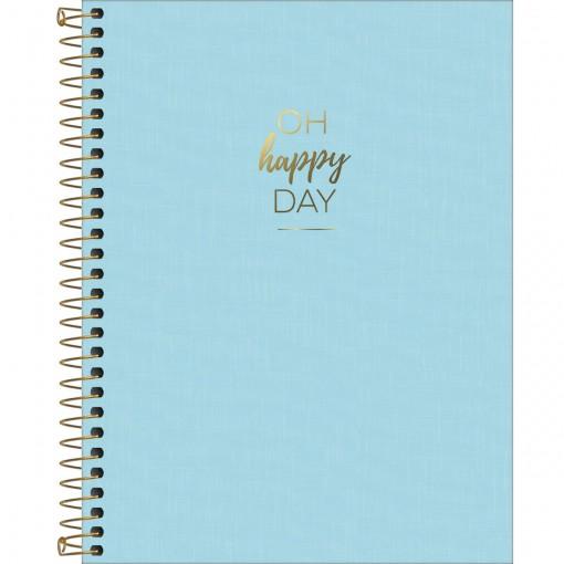 Caderno Espiral Capa Plástica Colegial 10 Matérias Happy Azul 160 Folhas