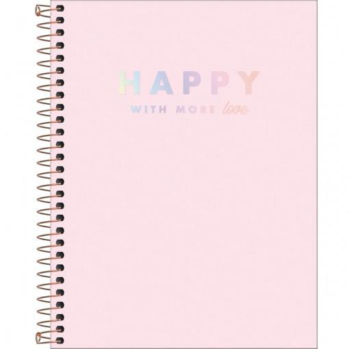 Caderno Espiral Capa Plástica Colegial 10 Matérias Happy Rosa 160 Folhas