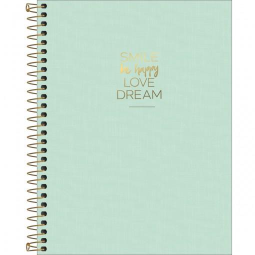 Caderno Espiral Capa Plástica Colegial 10 Matérias Happy Verde 160 Folhas