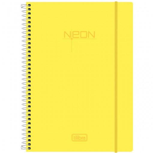 Caderno Espiral Capa Plástica Universitário 1 Matéria Neon Amarelo 96 Folhas