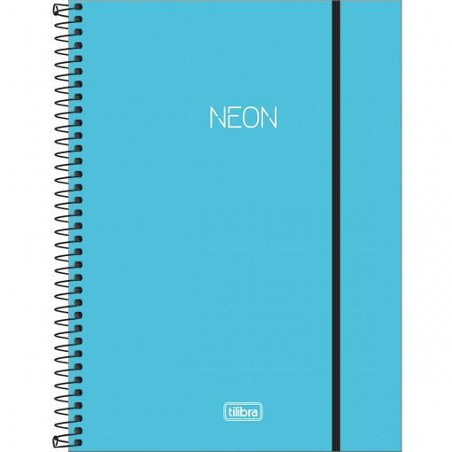 Caderno Espiral Capa Plástica Universitário 1 Matéria Neon Azul 80 Folhas