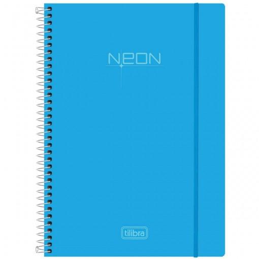 Caderno Espiral Capa Plástica Universitário 1 Matéria Neon Azul 96 Folhas