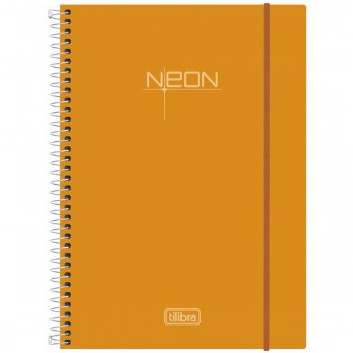 Caderno Espiral Capa Plástica Universitário 1 Matéria Neon Laranja 96 Folhas