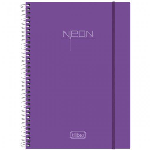 Caderno Espiral Capa Plástica Universitário 1 Matéria Neon Lilás 96 Folhas