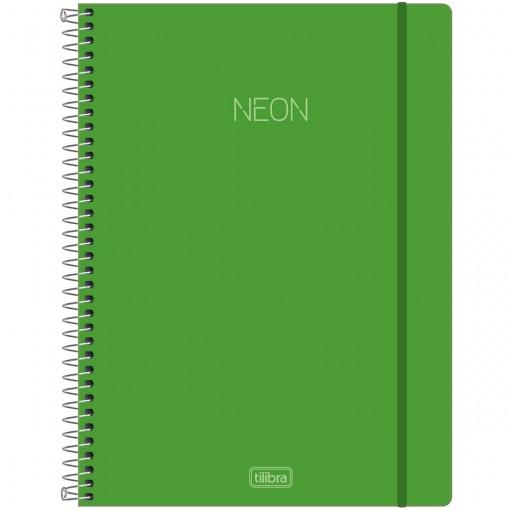 Caderno Espiral Capa Plástica Universitário 1 Matéria Neon Verde 80 Folhas