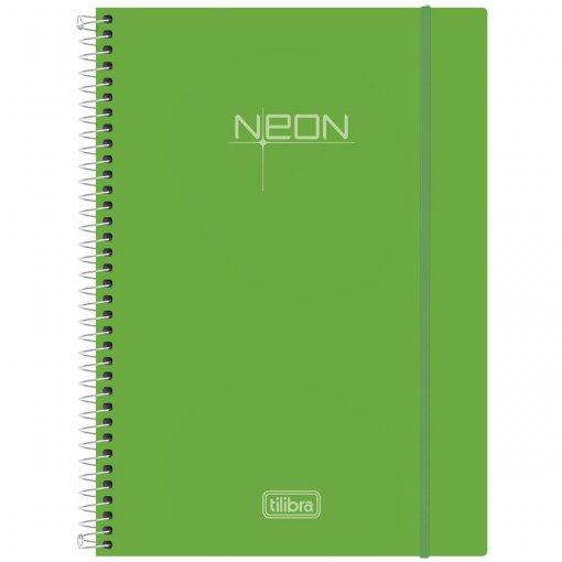 Caderno Espiral Capa Plástica Universitário 10 Matéria Neon Verde 200 Folhas