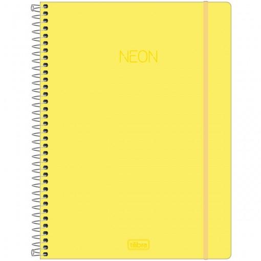 Caderno Espiral Capa Plástica Universitário 10 Matérias Neon Amarelo 160 Folhas
