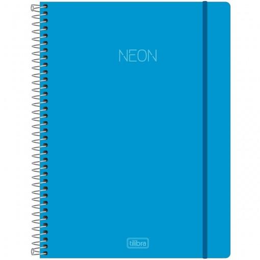Caderno Espiral Capa Plástica Universitário 10 Matérias Neon Azul 160 Folhas