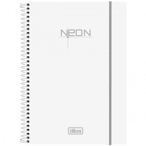 Caderno Espiral Capa Plástica Universitário 10 Matérias Neon Branco 200 Folhas