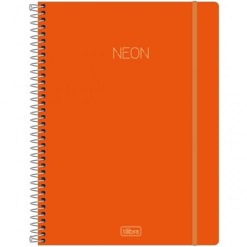 Caderno Espiral Capa Plástica Universitário 10 Matérias Neon Laranja 160 Folhas