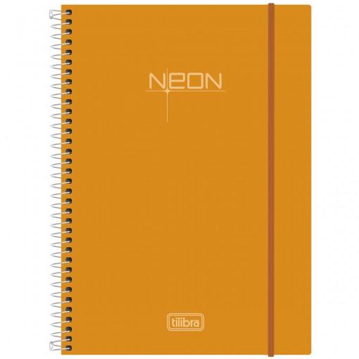 Caderno Espiral Capa Plástica Universitário 10 Matérias Neon Laranja 200 Folhas