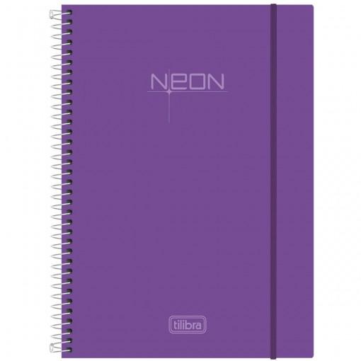 Caderno Espiral Capa Plástica Universitário 10 Matérias Neon Lilás 200 Folhas