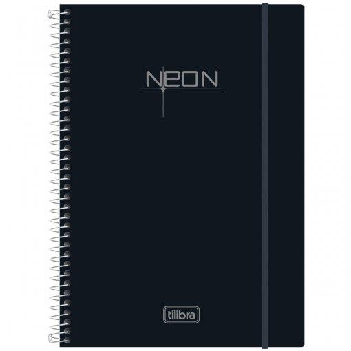 Caderno Espiral Capa Plástica Universitário 10 Matérias Neon Preto 200 Folhas