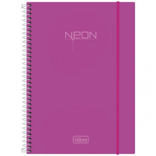 Caderno Espiral Capa Plástica Universitário 10 Matérias Neon Rosa 200 Folhas