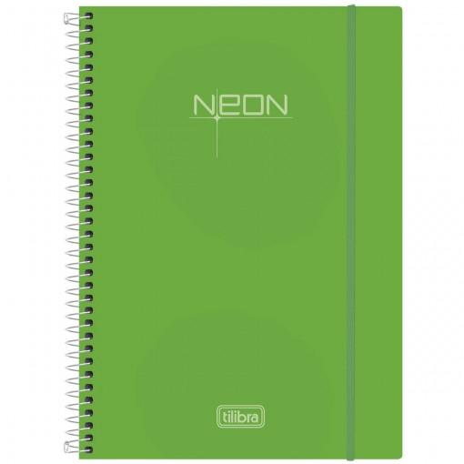 Caderno Espiral Capa Plástica Universitário 10 Matérias Neon Verde 200 Folhas