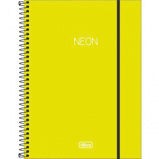 Caderno Espiral Capa Plástica Universitário 10 Matérias Neon Verde-Limão 160 Folhas