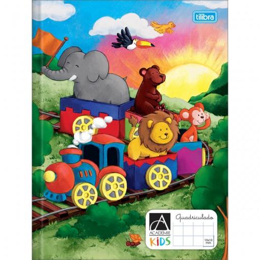 Caderno Quadriculado 1x1 cm Brochura Capa Dura Académie Kids 40 Folhas