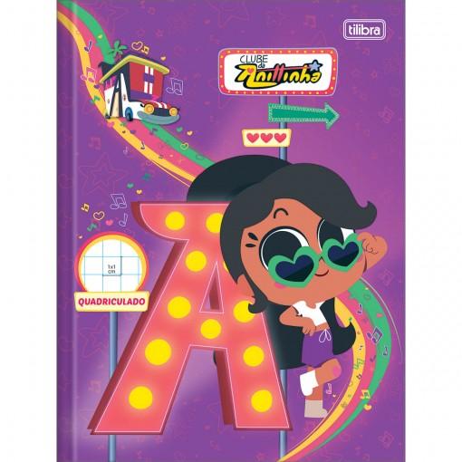 Caderno Quadriculado 1x1 cm  Brochura Capa Dura Clube da Anittinha 40 Folhas (Pacote com 5 unidades) - Sortido