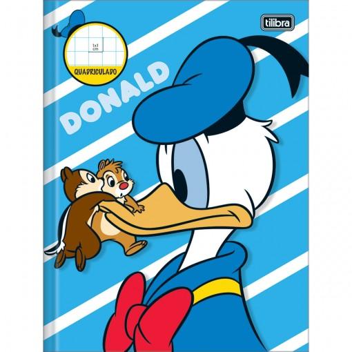 Caderno Quadriculado 1x1 cm Brochura Capa Dura Donald 40 Folhas (Pacote com 5 unidades) - Sortido