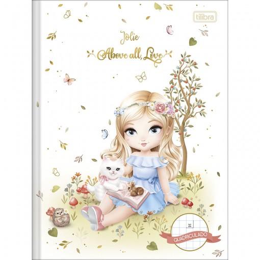 Caderno Quadriculado 1x1 cm Brochura Capa Dura Jolie 40 Folhas (Pacote com 5 unidades) - Sortido