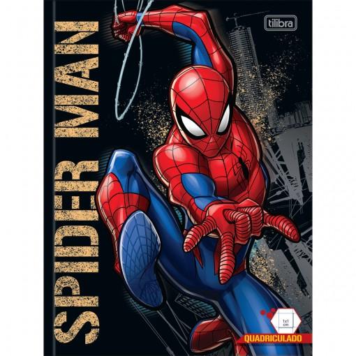 Caderno Quadriculado 1x1 cm Brochura Capa Dura Spider-Man 40 Folhas (Pacote com 5 unidades) - Sortido
