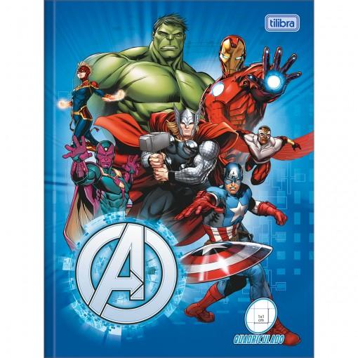 Caderno Quadriculado 1x1cm Brochura Capa Dura Avengers 40 Folhas (Pacote com 5 unidades) - Sortido