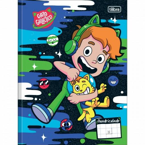 Caderno Quadriculado 1x1cm Brochura Capa Dura Gato Galactico 40 Folhas (Pacote com 5 unidades) - Sortido