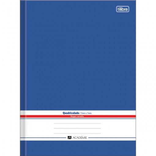 Caderno Quadriculado 7x7 mm Brochura Capa Dura Universitário Académie Azul 96 Folhas