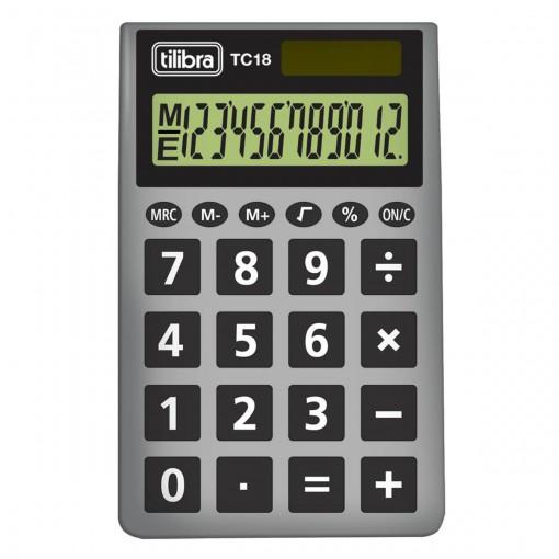 Calculadora de Bolso 12 Dígitos TC18 Cinza