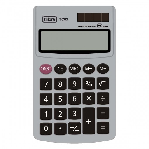 Calculadora de Bolso 8 Dígitos Grande TC03 Cinza