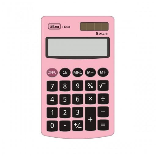 Calculadora de Bolso 8 Dígitos Grande TC03 Rosa Claro
