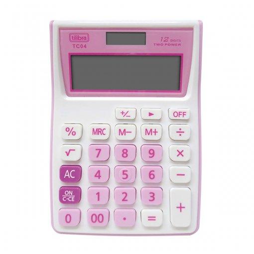 Calculadora de Bolso 12 Dígitos Grande TC04 Rosa