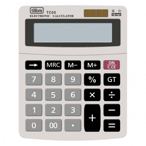 Calculadora de Mesa 12 Dígitos Pequena TC05 Cinza