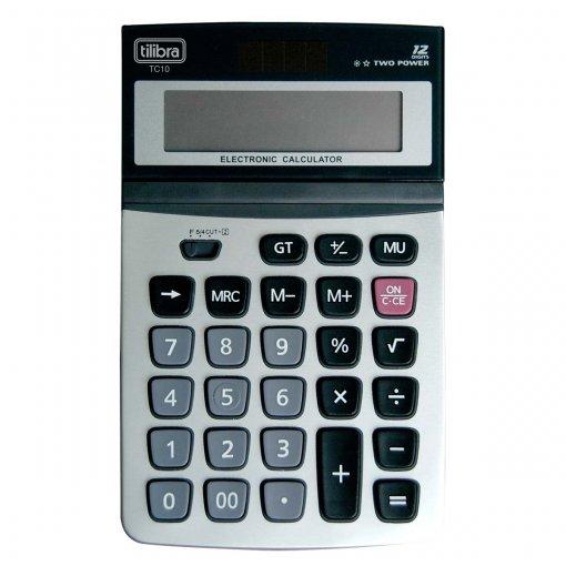 Calculadora de Mesa 12 Dígitos Grande Aço Escovado TC10 Cinza
