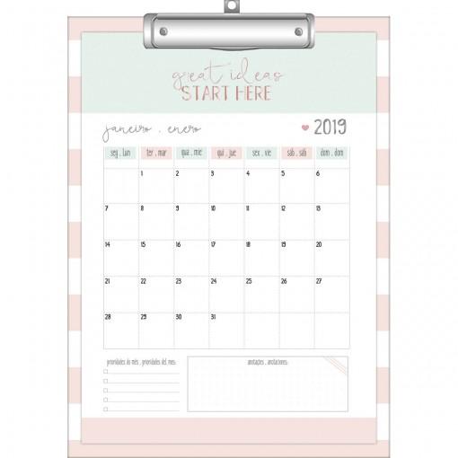 Calendário Planner Prancheta Soho 2019