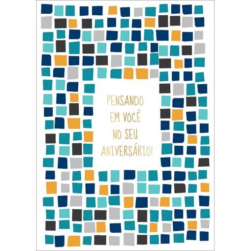 CARTÃO BY GRAFON'S ANIVERSÁRIO ESTAMPA azulejos azuis