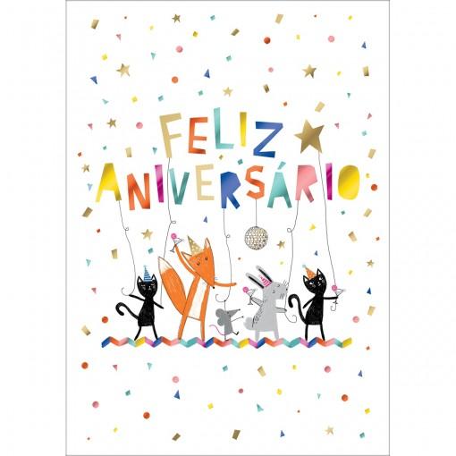 Cartão By Grafon's Aniversário Estampa Bichinhos