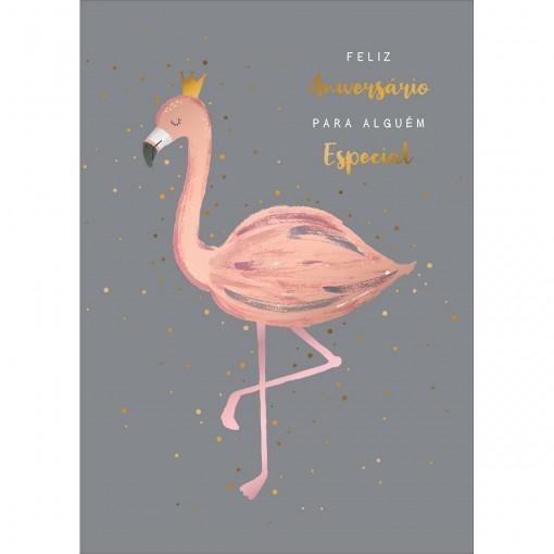 Cartão By Grafon's Aniversário Estampa Flamingo