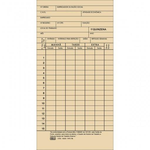 Cartao de Ponto Mensal TA - 100 Folhas
