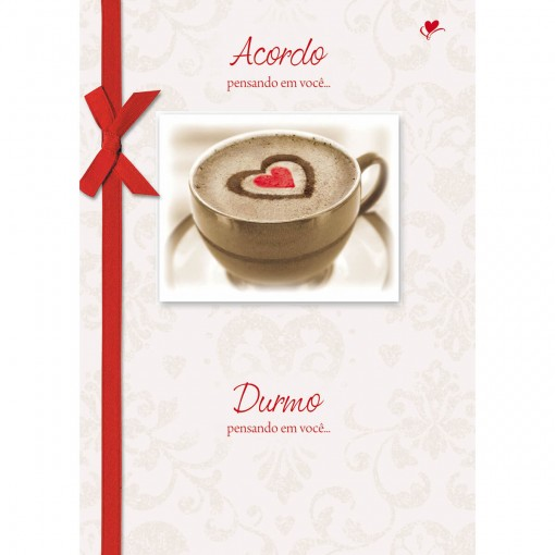 Cartão Handmade Beauty Amor Estampa Acordo pensando em você... - Grafon's