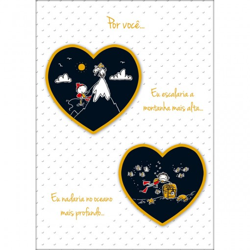 Cartão Handmade Beauty Amor Estampa Corações Dourado e Preto - Grafon's