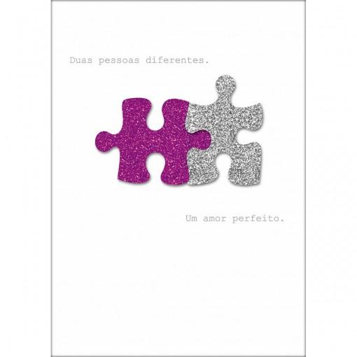 Cartão Handmade Beauty Amor Estampa Quebra-Cabeça- Grafon's