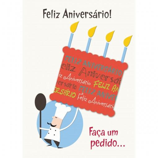 Cartão Handmade Beauty Aniversário Estampa Bolo de Aniversário- Grafon's