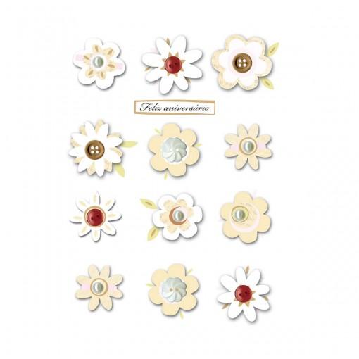 Cartão Handmade Beauty Aniversário Estampa Flores e botões - Grafon's