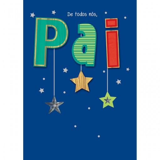 Cartão Handmade Beauty Pais Estampa Estrelas Pai - Grafon's
