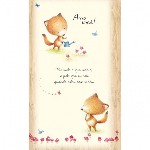 Cartão Magic Moments Amor Estampa Raposas jardim - Grafon's