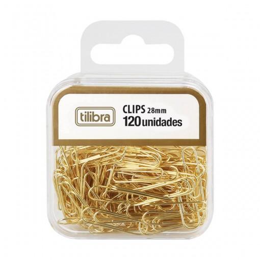 Clips 28mm Dourado 120 Unidades